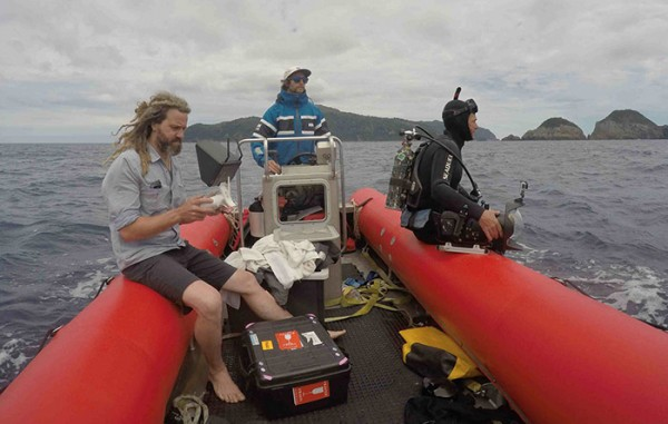 Kina is on the search with his drone while Elliot and Brady scan the horizon for humpback whales.